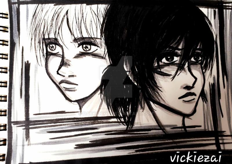 Armin n Mikasa by Darkvickie