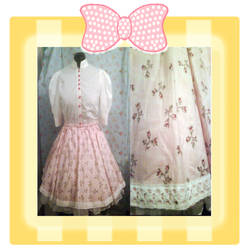 Classic pink floral skirt by RococoNeko