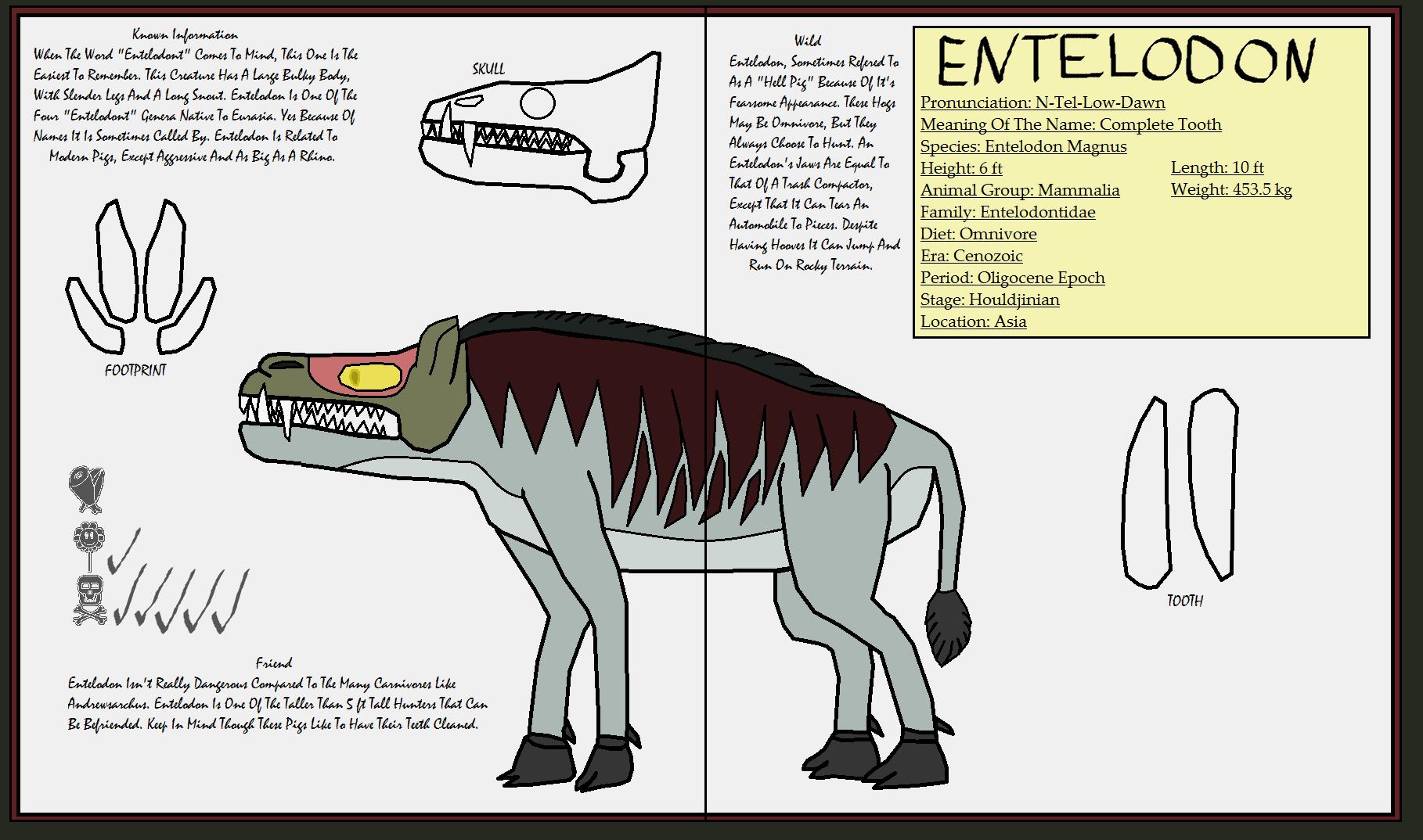 Dinatheen P-Animal Info Ref: Entelodon by Tyrannosaurus90s