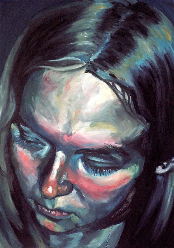 Self-Portrait - sad, down by Emmarainbow on DeviantArt  Sad Paintings
