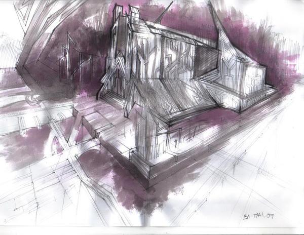 Conceptual Sf Monastery by roxaralu
