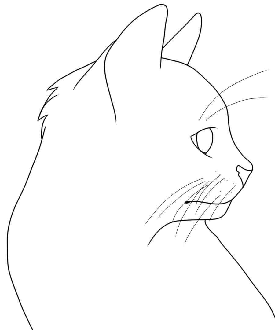 Line Drawing Of A Cat Face : Cat head lineart free by azielle on deviantart