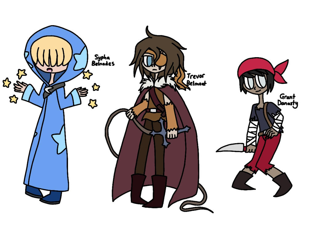 Castlevania- Sypha, Trevor and Grant redesigns by KJ-Party