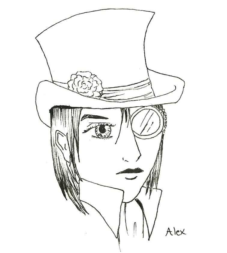 Line Drawing Hat : Female top hat line art by poppey on deviantart