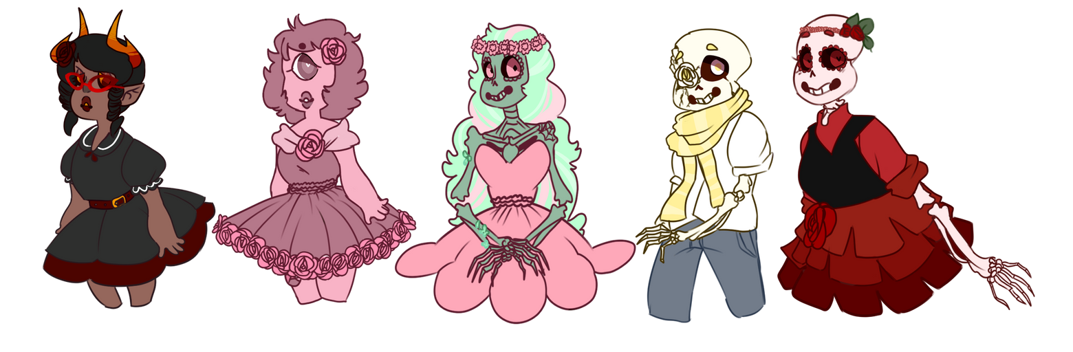 Cute Skeletons, A Pretty Gem And An Adorable Troll by SmasherlovesEvil