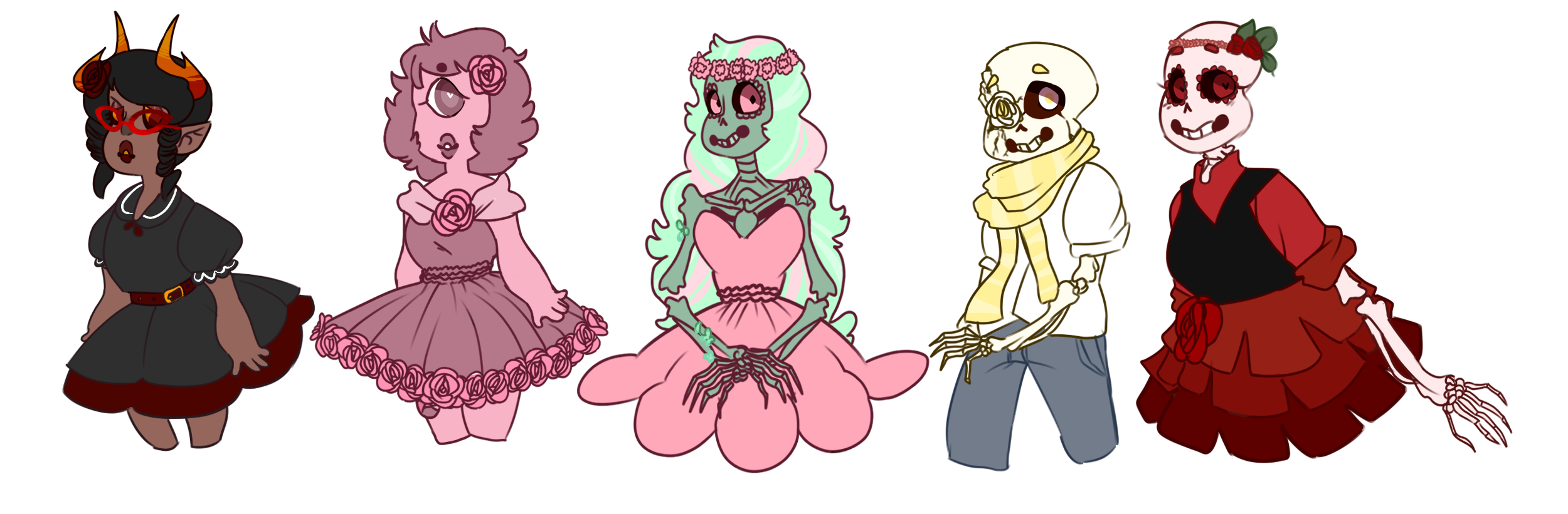 Cute Skeletons, A Pretty Gem And An Adorable Troll by SmasherlovesBunny500