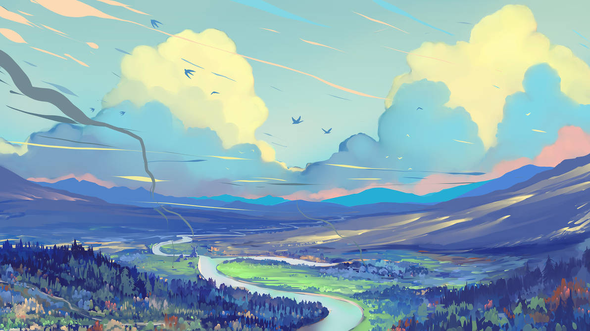 White Blue Red Clouds by Hangmoon