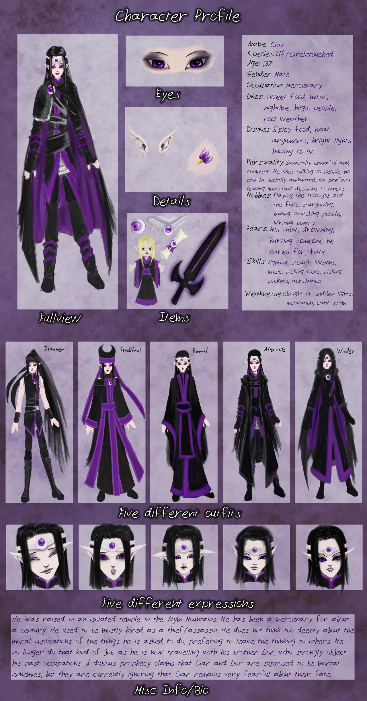 Character Sheet: Ciar by sisaat