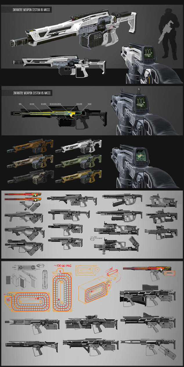 Assault rifle/LMG concept by vombavr