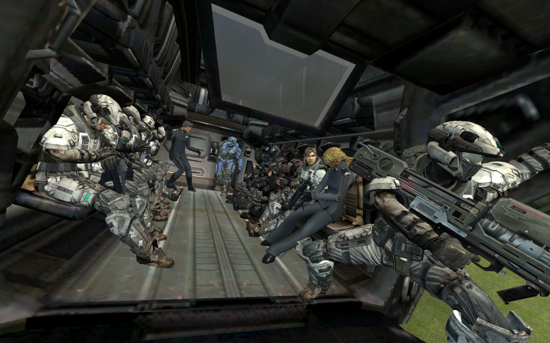 Marines and ODST escourt 2 UNSC Commanders by Gwentari