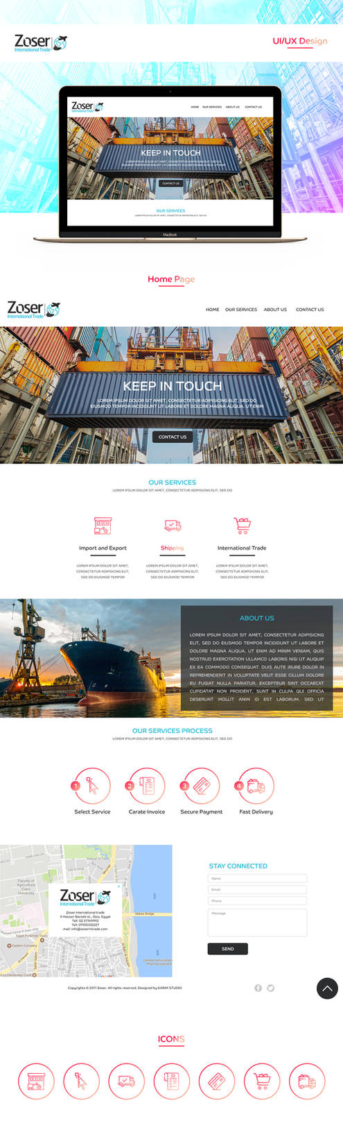 Zoser international trade | UI/UX Design by KarimStudio