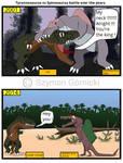 Tyrannosaurus vs Spinosaurus battle over the years