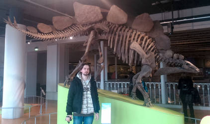 With stegosaurus from the museum in Edinburgh