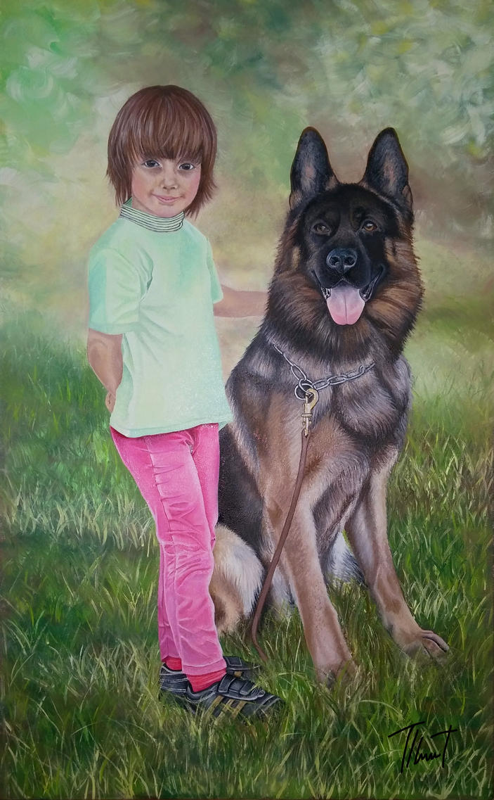 The girl and her dog by Tinusesenka