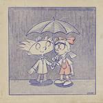 Arnold and Helga Under the Umbrella by Donnietu