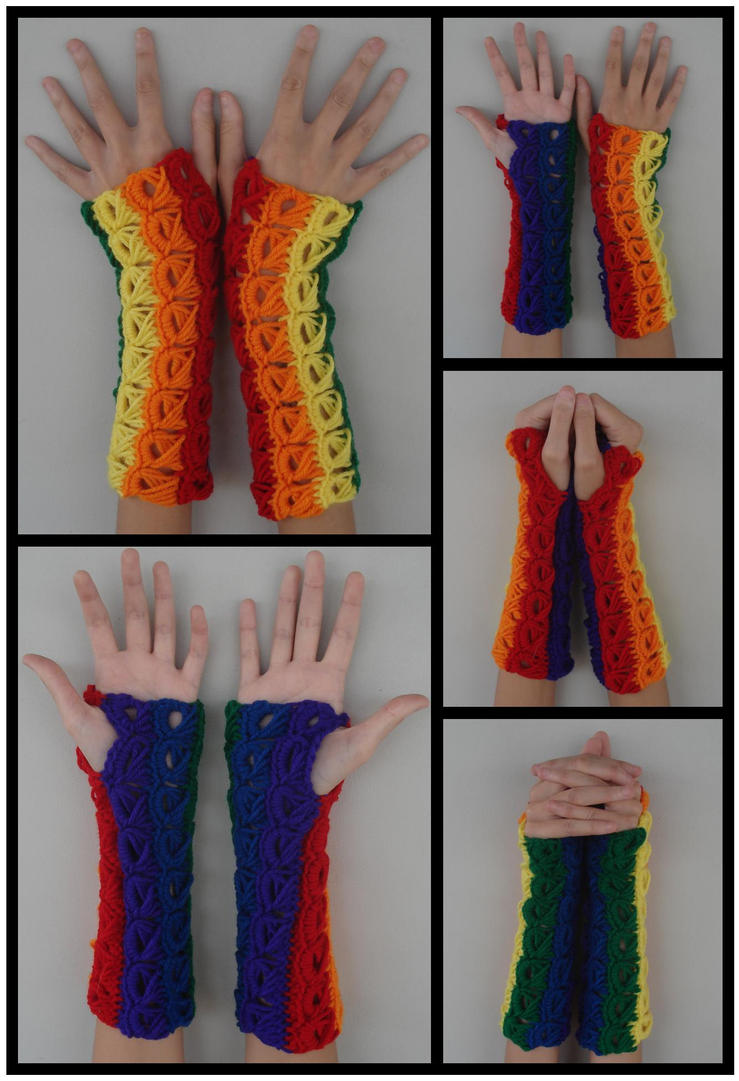 Rainbow Armwarmers - Broomstick Stitch by RebelATS