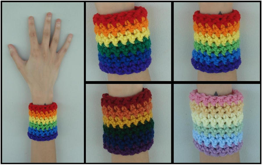 Crocheted Rainbow Wristbands by RebelATS