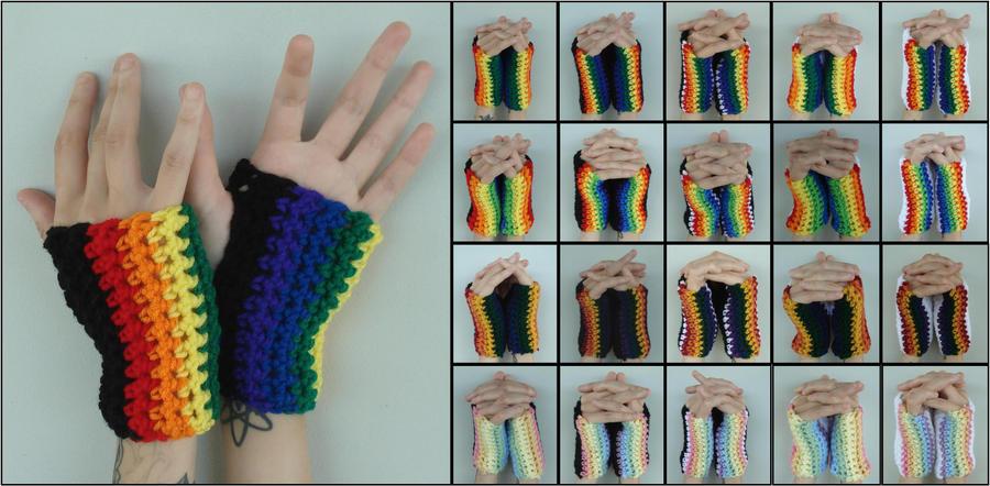 Crocheted Rainbow Handwarmers/Fingerless Gloves by RebelATS