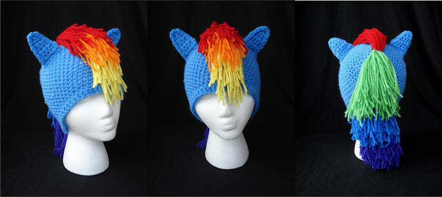 MLP Rainbow Dash Beanie with Ears and Mane by RebelATS on ...