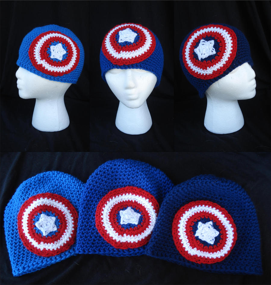 Captain America Crocheted Beanies by RebelATS