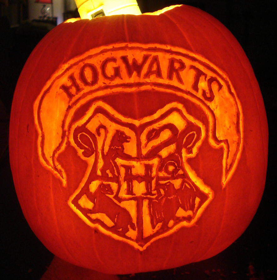 Harry Potter Hogwarts Crest Pumpkin by RebelATS