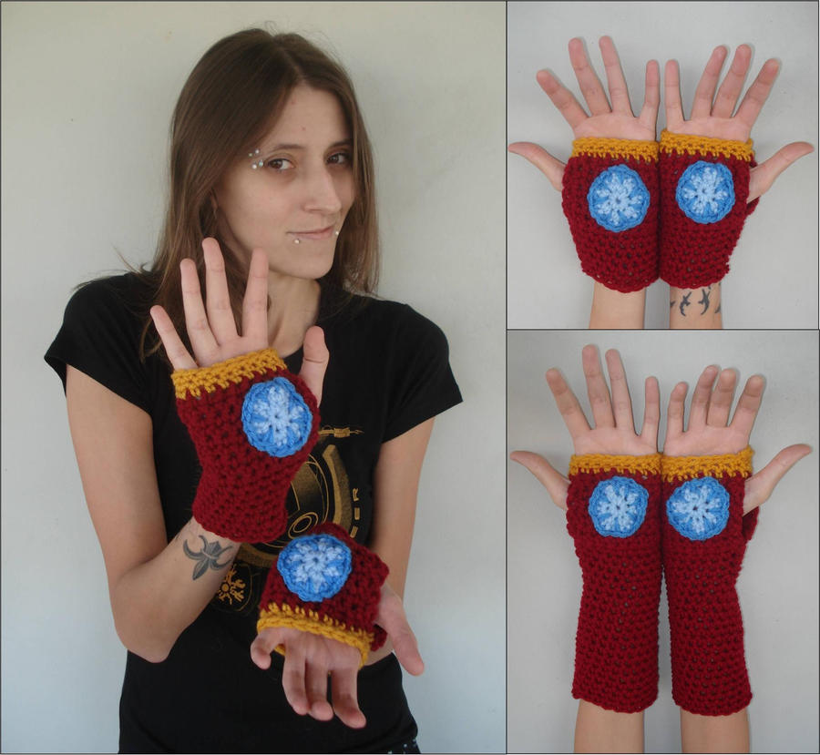 Iron Man Fingerless Gloves - Hand and Arm Warmers by RebelATS on DeviantArt