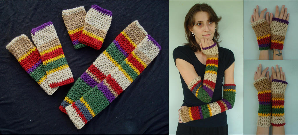 4th Doctors Scarf Inspired Hand And Arm Warmers By Rebelats On