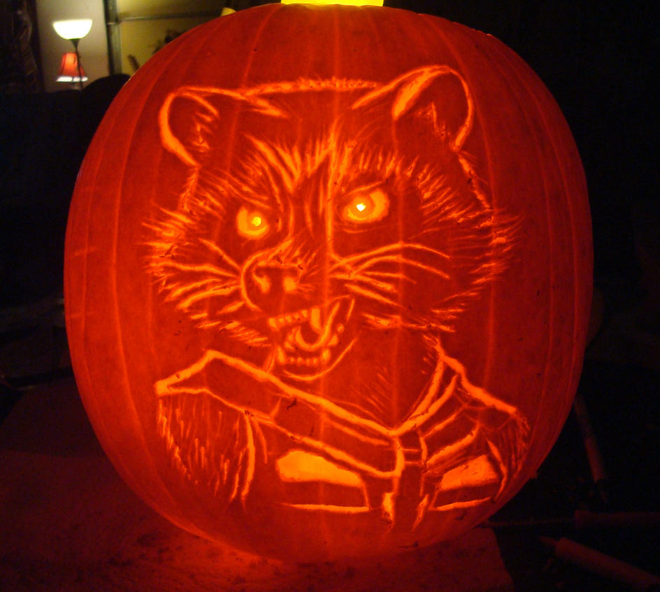 rocket raccoon pumpkin by rebelats on deviantart