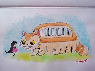 Catbus in Watercolor by ErisConstance