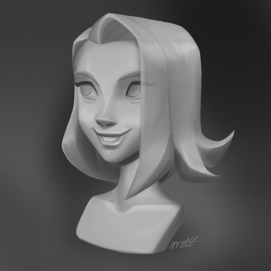 Head Statue Painting by miacat7
