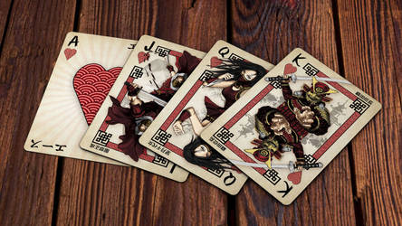 Heroes of Japan Playing Cards - Hearts