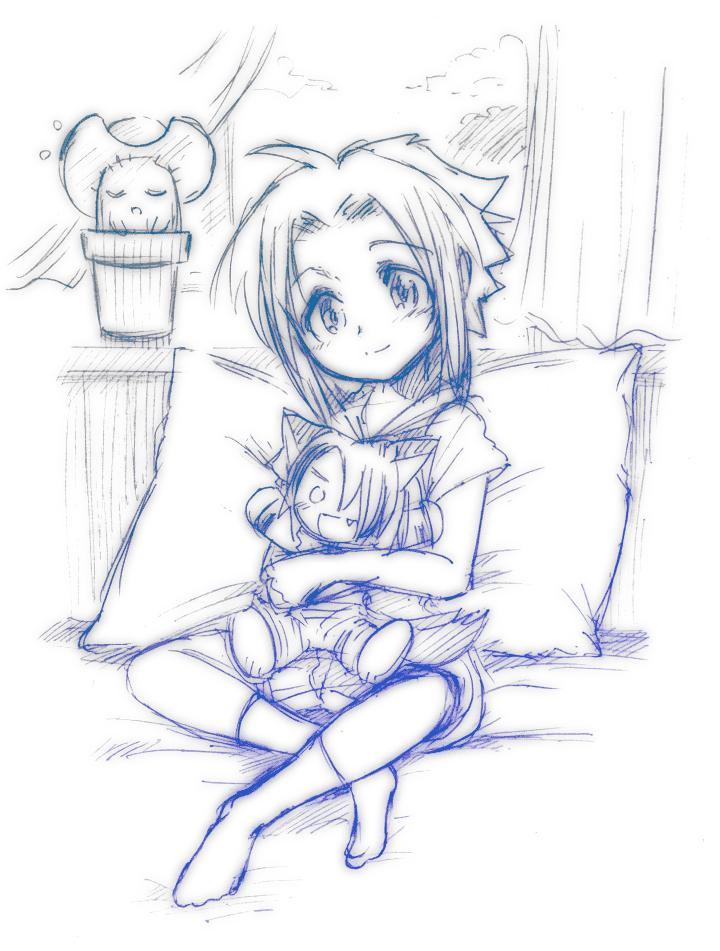 I hug a stuffed toy by sham-mani