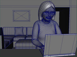 lady at laptop wireframe