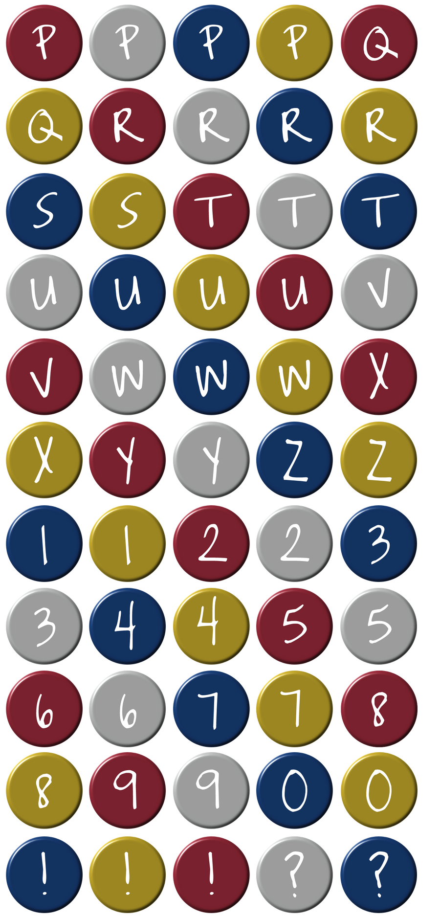 coloured circle letters part 2 by powerpuffjazz