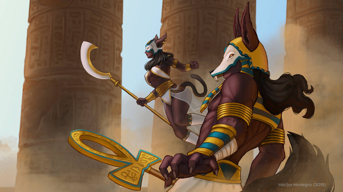Anubis and Bastet by Hector-Monegro