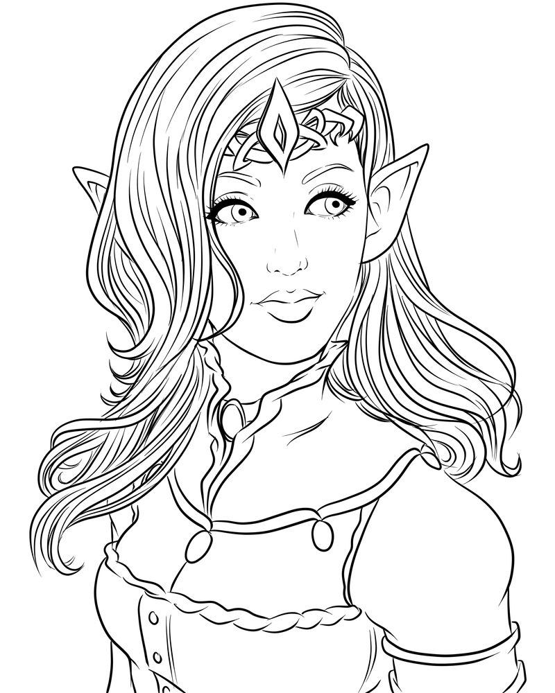 Line Art Person : Lines the elven queen by miserie on deviantart