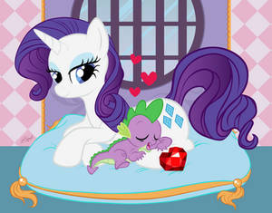 Naptime with Spike and Rarity
