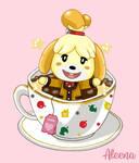 Isabelle Relaxing Inside a Tea Cup Sticker