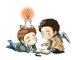 Dean and Castiel with Candle by Pra88