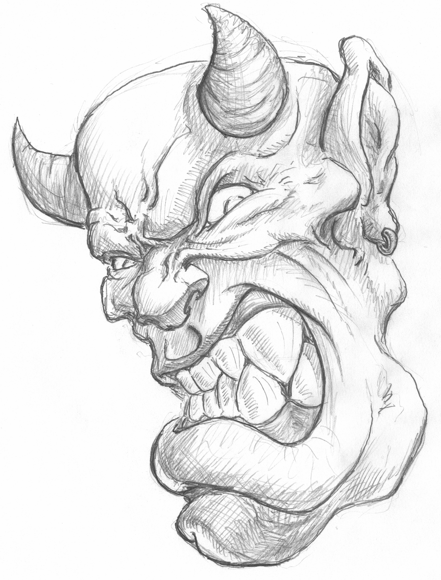 Devil Face Line Drawing : Angry pencil drawings of demons sketch coloring page