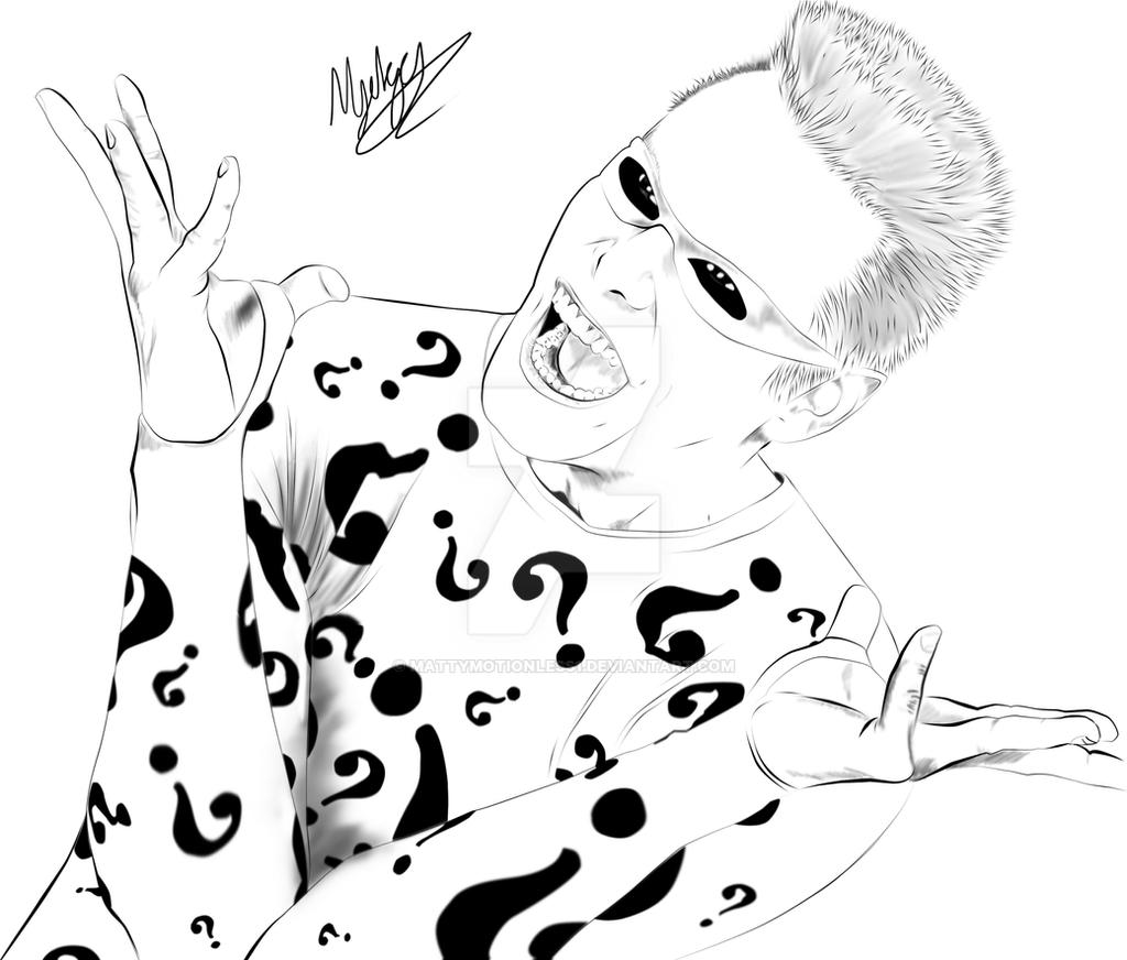 Line Drawing Riddles : Jim carrey the riddler by mattymotionless on deviantart
