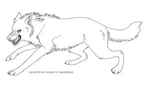 Angry wolf lineart free by MayhWolf
