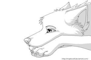 Bored wolf base by MayhWolf