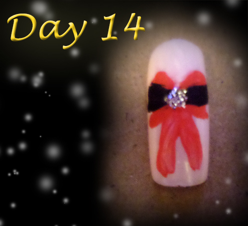 Day 14 Christmas Nail Design - Christmas Bow by Cpr-Covet