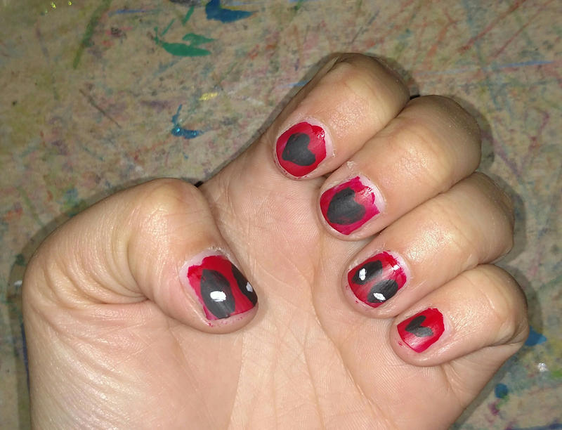 Deadpool valentine nail art by Cpr-Covet