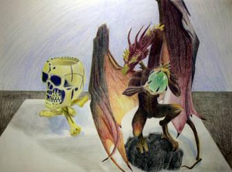Dragon and Skull by rockdog80