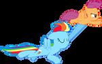 Rainbowdash and Scootaloo flying