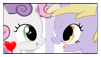:PC: Sweetie Belle and Dinky Doo Stamp by GlassFeline