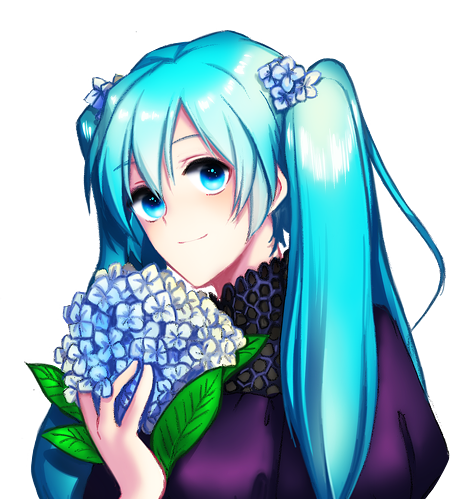 miku and hydrangea by kthelimit
