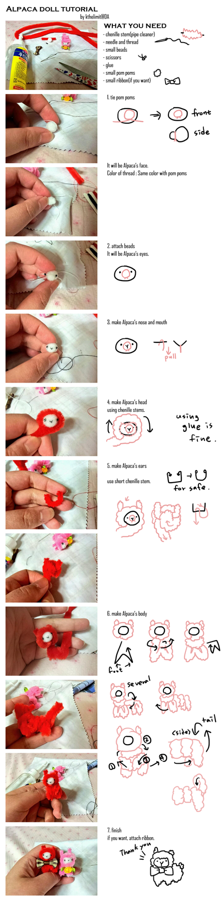pipe cleaner(chenille stems) Alpaca tutorial by kthelimit